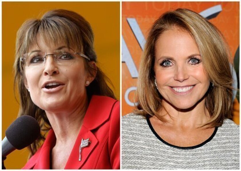 """FILE - In this photo combo former Alaska governor and GOP vice presidential candidate Sarah Palin, left, and Katie Couric, right, are shown. Palin was the much-hyped guest co-host on NBC's """"Today,"""" going head-to-head against former """"Today"""" anchor Katie Couric, on Tuesday, April 3, 2012. (AP Photo)"""
