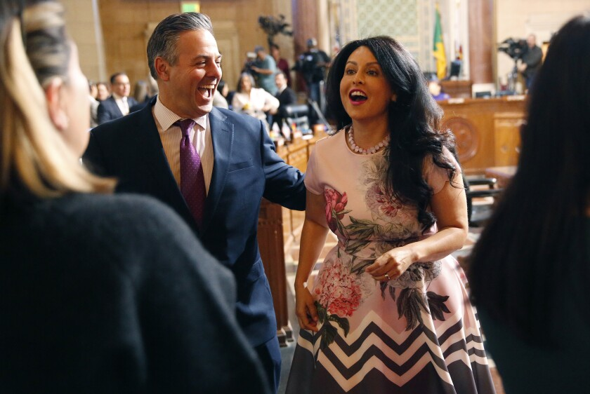 Councilman Joe Buscaino congratulates Nury Martinez, who was named L.A. City Council president.