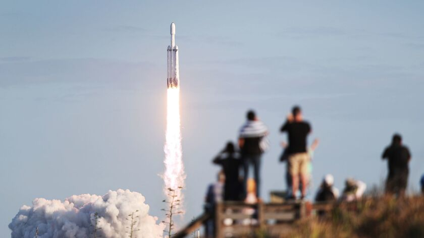 A SpaceX Falcon Heavy rocket lifts off from NASA's Kennedy Space Center in Florida on April 11.