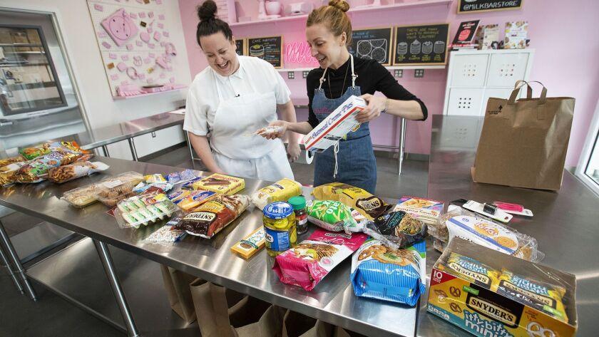LOS ANGELES, CA-APRIL 5, 2019: Anna McGorman, left, Director of Culinary Operations for Milk Bar, an
