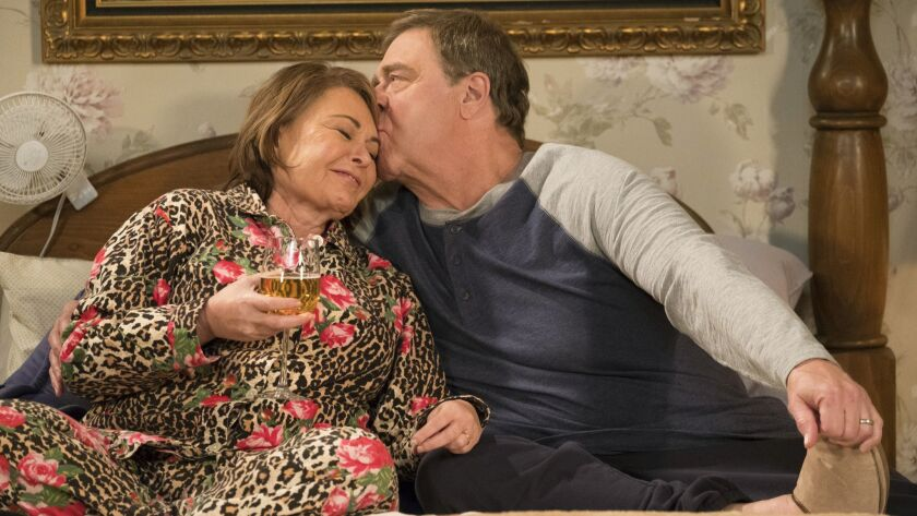 In this image released by ABC, Roseanne Barr, left, and John Goodman appear in a scene from the seas