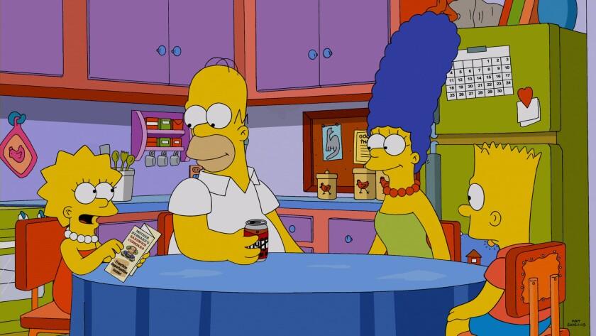Lisa, Homer, Marge and Bart Simpson