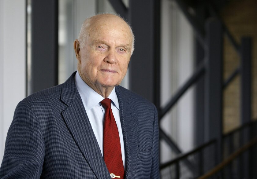 FILE - In this Jan. 25, 2012, file photo, John Glenn poses for a photo during an interview at his office in Columbus, Ohio. The former astronaut and Ohio U.S. senator has had a heart valve replacement as he approaches his 93rd birthday. (AP Photo/Jay LaPrete)