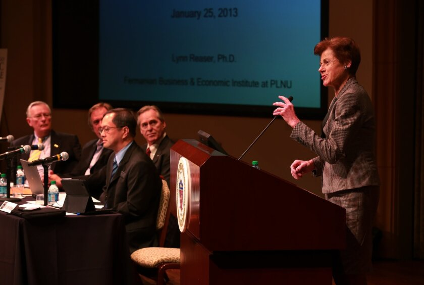 Lynn Reaser, chief economist at Point Loma Nazarene University, addresses the audience at the 29th annual San Diego County Economic Roundtable, held at the University of San Diego.