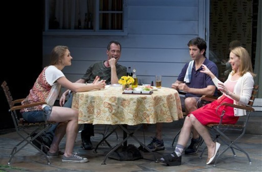 """Sarah Sokolovic, Darren Pettie, David Schwimmer and Amy Ryan (left to right) in a scene from the 2011 Playwrights Horizons production of Lisa D'Amour's """"Detroit."""""""