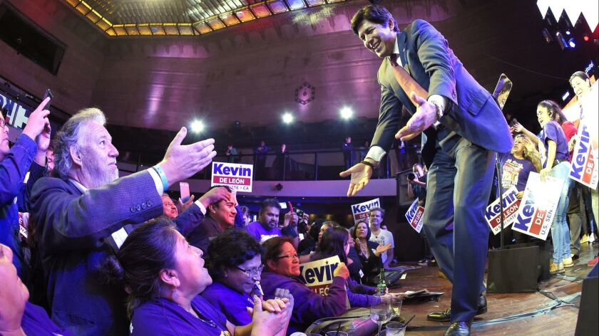 Kevin de León, California state Senate president pro tem and a Democratic candidate for the U.S. Senate, greets supporters after speaking during an election party June 5 in Los Angeles.