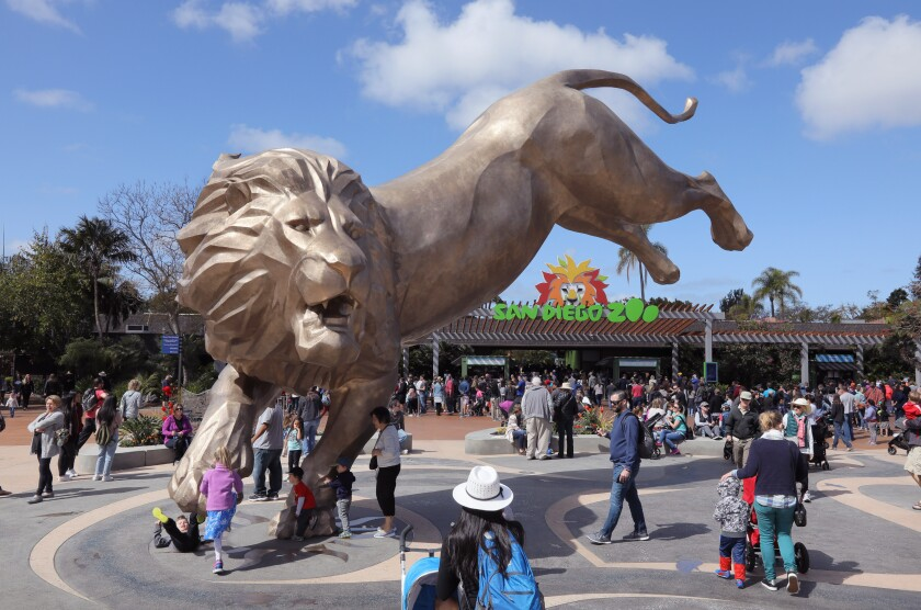 This March 2018 file photo shows the front entrance to the San Diego Zoo.