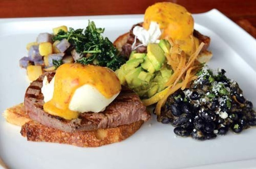 Steak Benedict is served with a variety of Spanish-American ingredients. Photos by Kelley Carlson