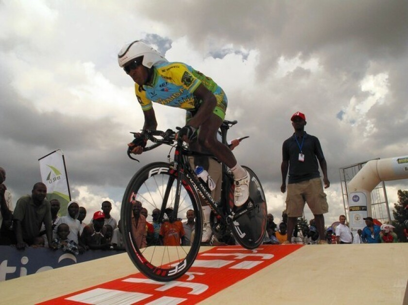 """Adrien Niyonshunti, who lost several family members in the 1994 Rwandan genocide, starts a time trial in """"Rising From Ashes."""""""