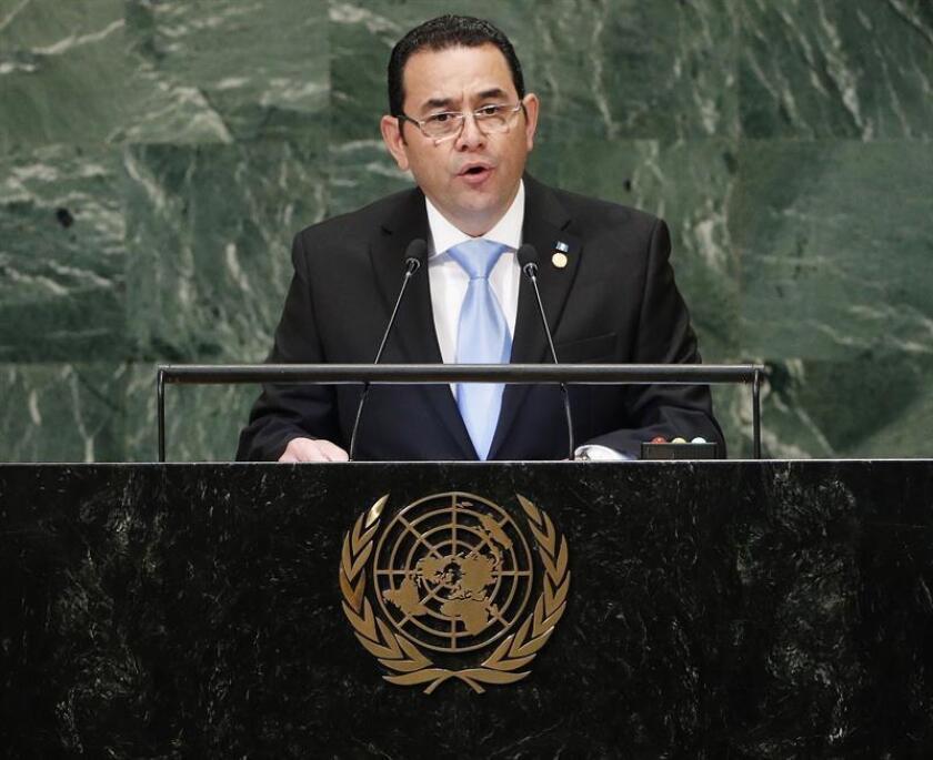 El presidente de Guatemala, Jimmy Morales, interviene durante el Debate General de la Asamblea General de las Naciones Unidas (ONU) hoy, martes 25 de septiembre de 2018, en la sede del organismo, en Nueva York (Estados Unidos). EFE