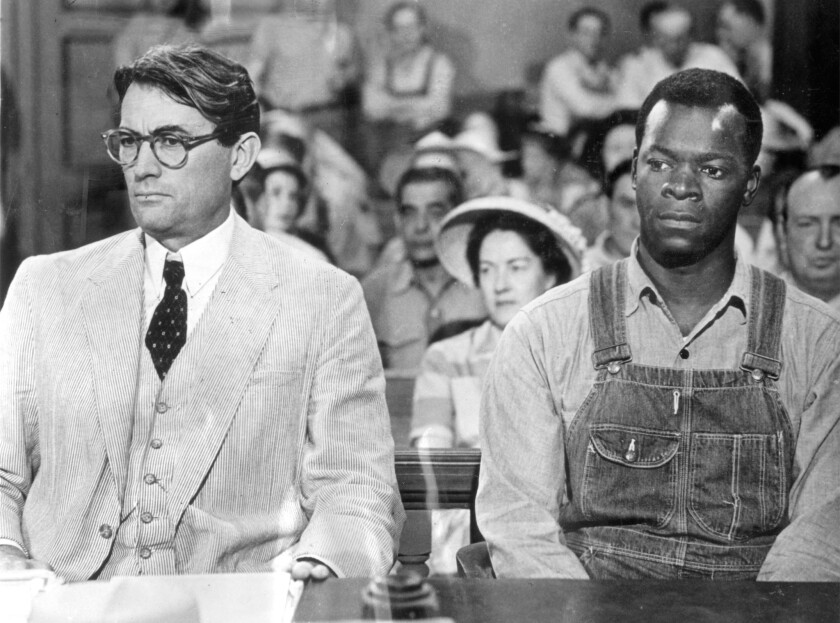 """Gregory Peck, left, and Brock Peters in the classic 1962 courtroom drama """"To Kill a Mockingbird."""""""