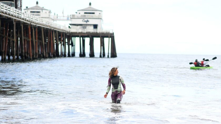 MALIBU, CALIFORNIA APRIL 16, 2019-Kassia Meador, who has her own line of wetsuits, has helped lead t