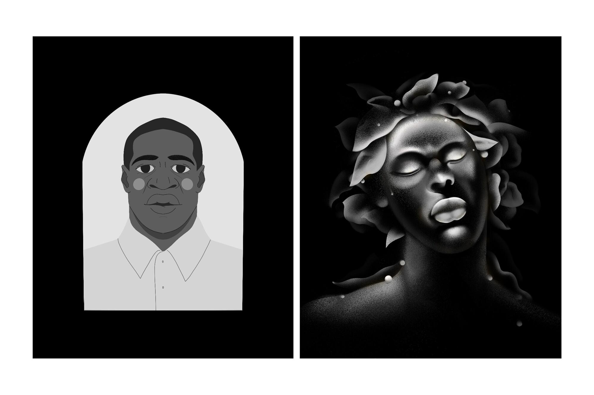 Illustrations by D'Ara Nazaryan, left, and Debora Cheyenne
