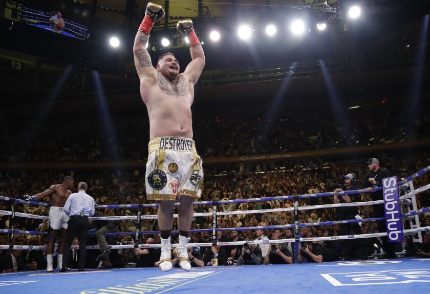 Andy Ruiz celebrates after stopping Anthony Joshua during the seventh round of a heavyweight champio