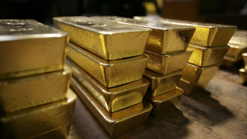 Gold bars are pictured on April 6, 2009