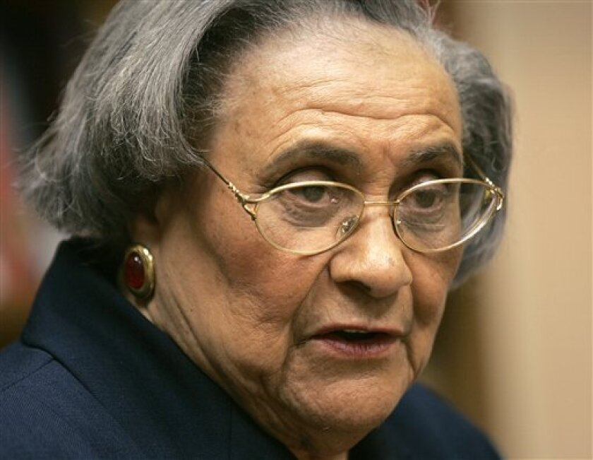 FILE - This Jan. 31, 2005 file photo shows Essie Mae Washington-Williams during a book signing in Washington. Washington-Williams, the daughter of one-time segregationist Sen. Strom Thurmond who kept her parentage secret for more than 70 years to avoid damaging his political career, died Monday, Feb. 4, 2013. She was 87. (AP Photo/Lawrence Jackson, file)