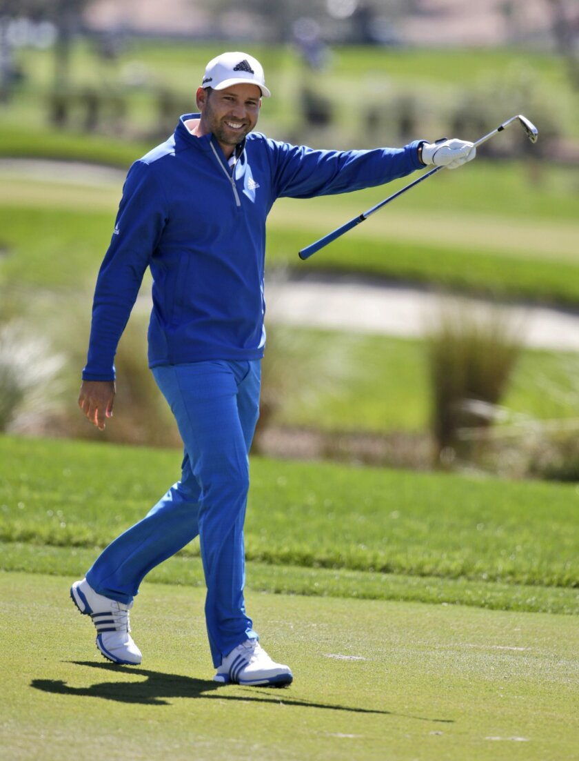Sergio Garcia, of Spain, reacts after making an eagle on the second hole during the first round of the Honda Classic golf tournament, Thursday, Feb. 25, 2016, in Palm Beach Gardens, Fla. (AP Photo/Lynne Sladky)