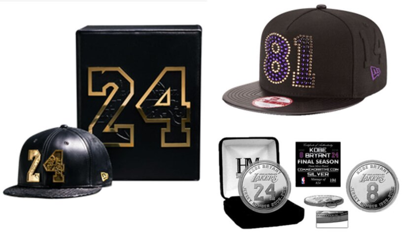 """Items available at Lakersstore.com include, clockwise from left,: a black lamb-leather cap with an 18-karat gold """"24"""" on the front for $38,024; a purple diamond cashmere cap for $24,008; and commemorative coins of various sizes."""