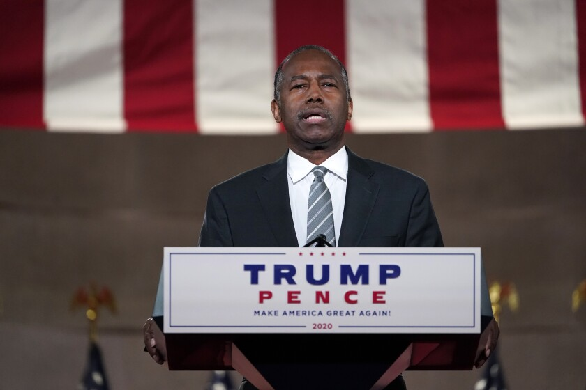 HUD's Ben Carson speaks at the Republican National Convention from  Washington on Aug. 27.