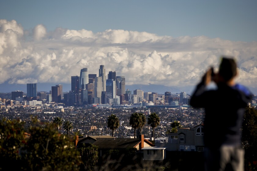 A skyline view of downtown Los Angeles, taken from the Kenneth Hahn State Recreation Area.