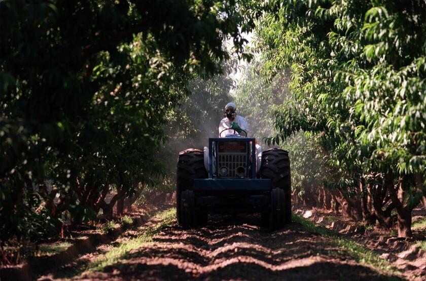 Perry Classen, a Selma, Calif., farmer, sprays his crop with pesticide.