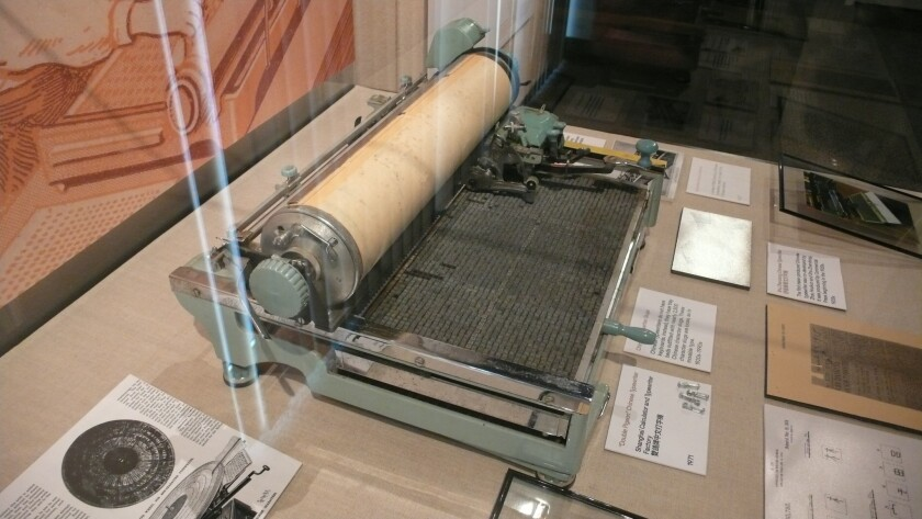 "An item on display in the exhibit ""Radical Machines: Chinese in the Information Age,"" at the Chinese Historical Society Archives Building in downtown San Diego."