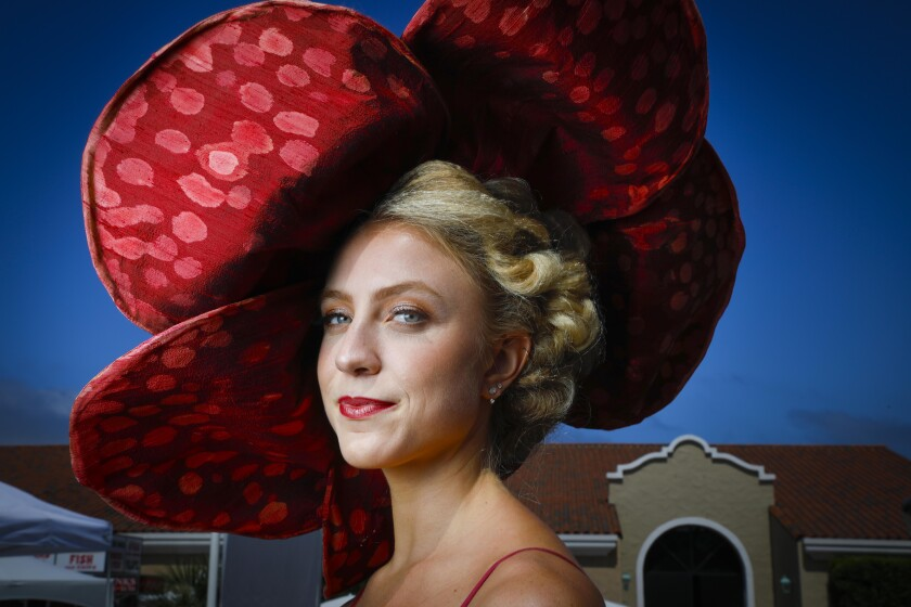 Two years ago hats, like this red, polka-dotted one were out in force at Opening Day at the Del Mar Racetrack.