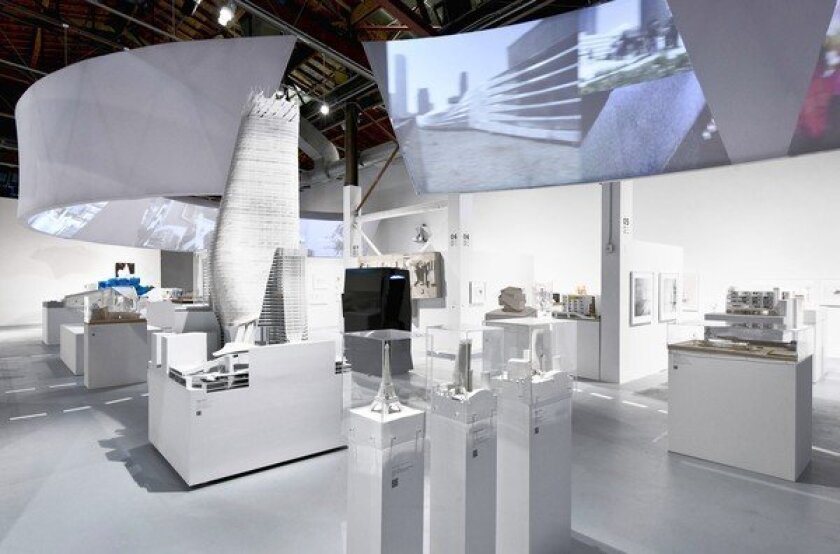 "Installation view of ""A New Sculpturalism: Contemporary Architecture from Southern California"" at the Geffen Contemporary at MOCA."