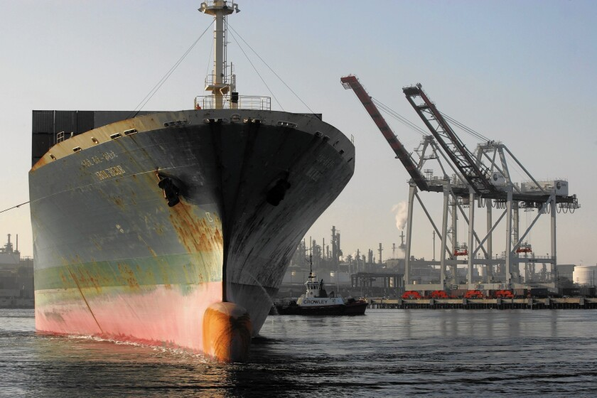 A cargo ship from Japan leaves the TraPac terminal at the Port of Los Angeles in 2009.