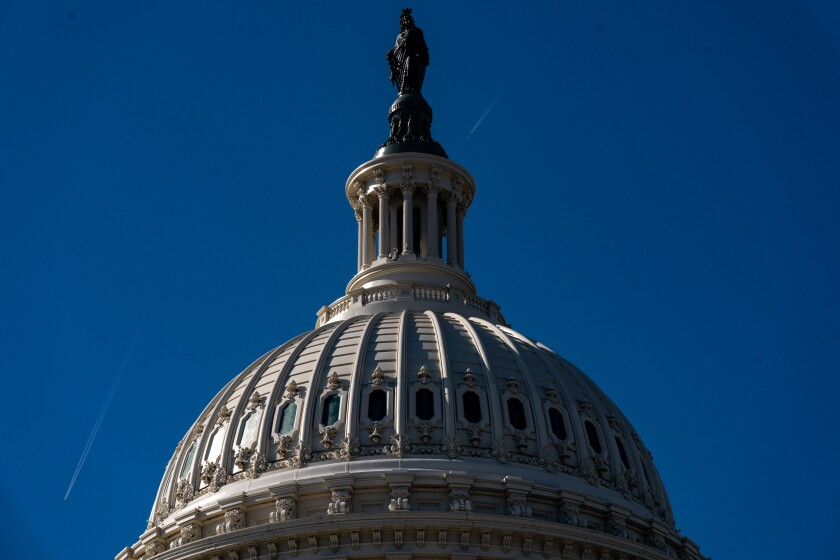 The dome of the Capitol building in Washington, D.C.