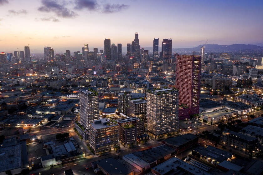 An aerial rendering of the proposed Fourth & Central project at dusk in L.A.