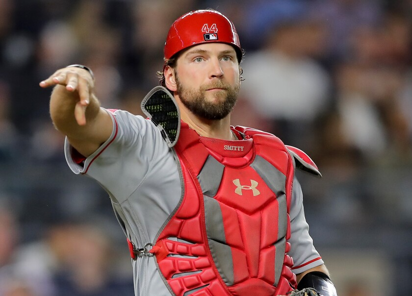 The Angels are not making a contract offer to arbitration-eligible catcher Kevan Smith.