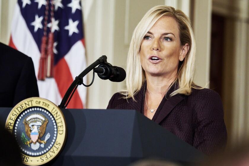 Kirstjen Nielsen at the White House in Washington on Oct. 12, 2017.