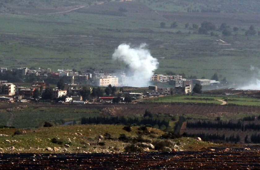 Smoke from Israeli shelling billows from the Lebanese town of Al Majidiyah on the border with Israel on Jan. 28.