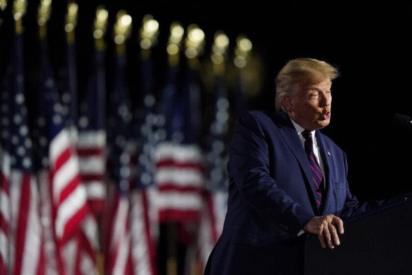 President Trump speaks from the South Lawn of the White House on the fourth day of the Republican National Convention.