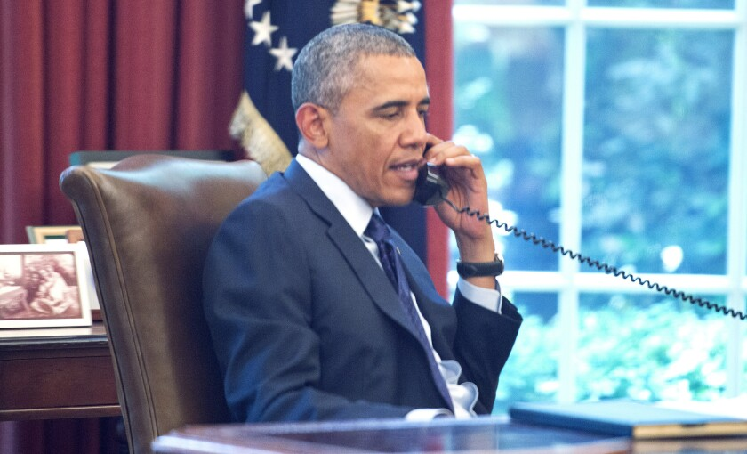President Obama reportedly speaks on a conference call hosted by the American Lung Association and other public health groups to discuss the new Environmental Protection Agency climate change regulations for carbon pollution from power plants.