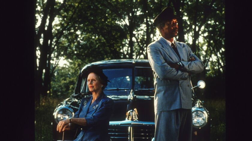 "Original Caption – Nice Drive: Jessica Tandy and Morgan Freeman in ""DRIVING MISS DAISY"" airing on AB"
