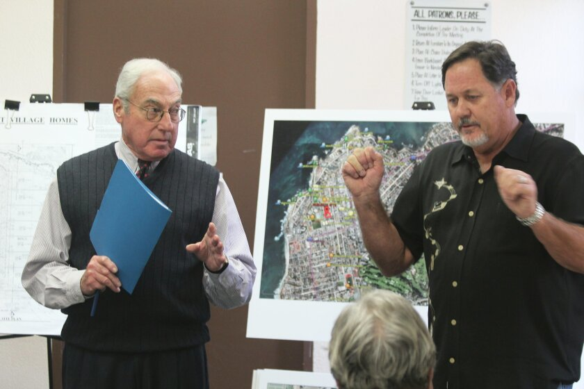 Silver Street Village Homes project applicant William Berwin (right) and development advisor Jay Wexler present their 18-townhome project to the La Jolla Planned District Ordinance committee Feb. 9 at La Jolla Rec Center.