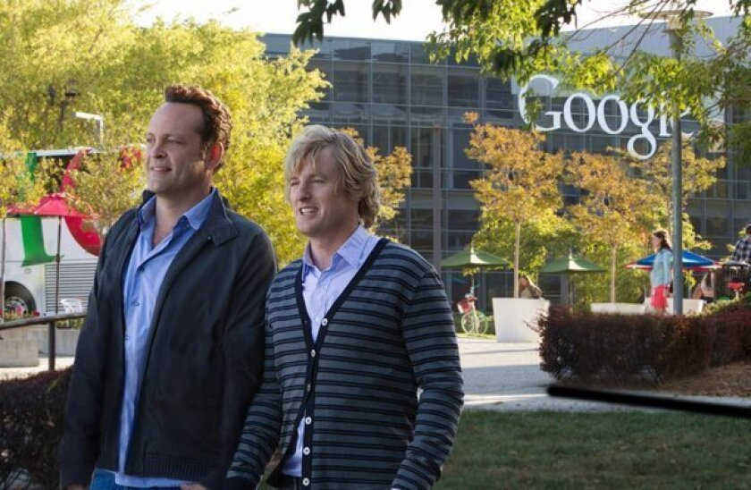 Vince Vaughn and Owen Wilson on the campus of Google in a scene from the movie, 'The Internship.'
