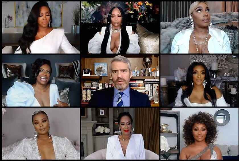 """A screengrab from """"The Real Housewives of Atlanta Reunion,"""" part 1, hosted by Andy Cohen."""