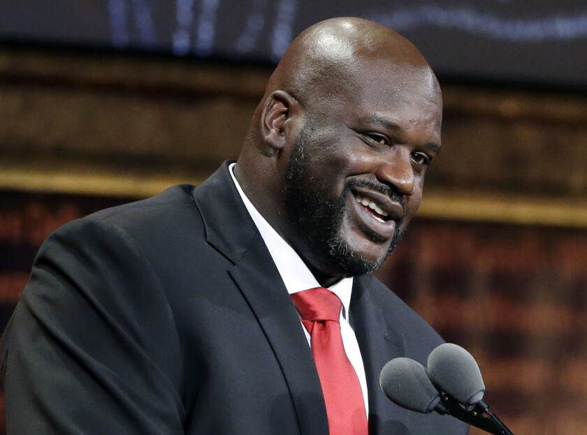 Shaquille O'Neal speaks during the 2016 Basketball Hall of Fame enshrinement ceremony at Symphony Hall in Springfield, Mass., on Sept. 9.