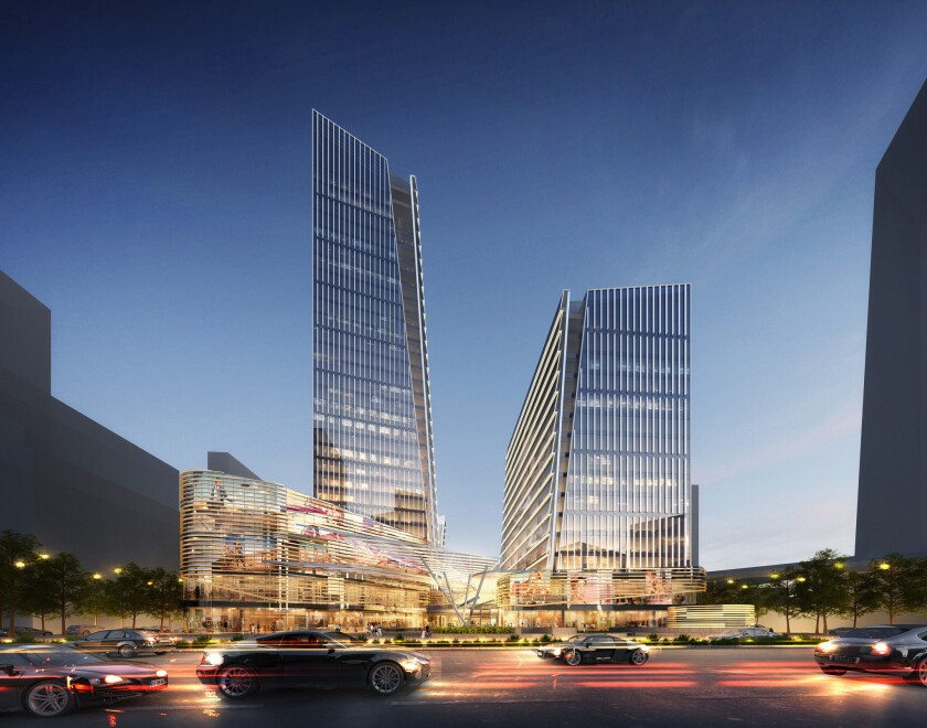 An image of the office towers and creative offices designed by KPF Architects at the Shanghai DreamCenter in China.