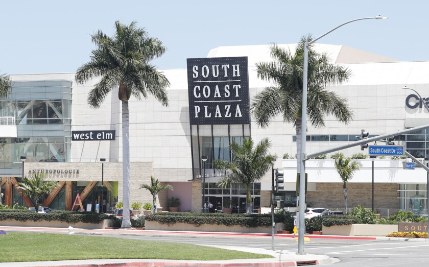 South Coast Plaza north in Costa Mesa