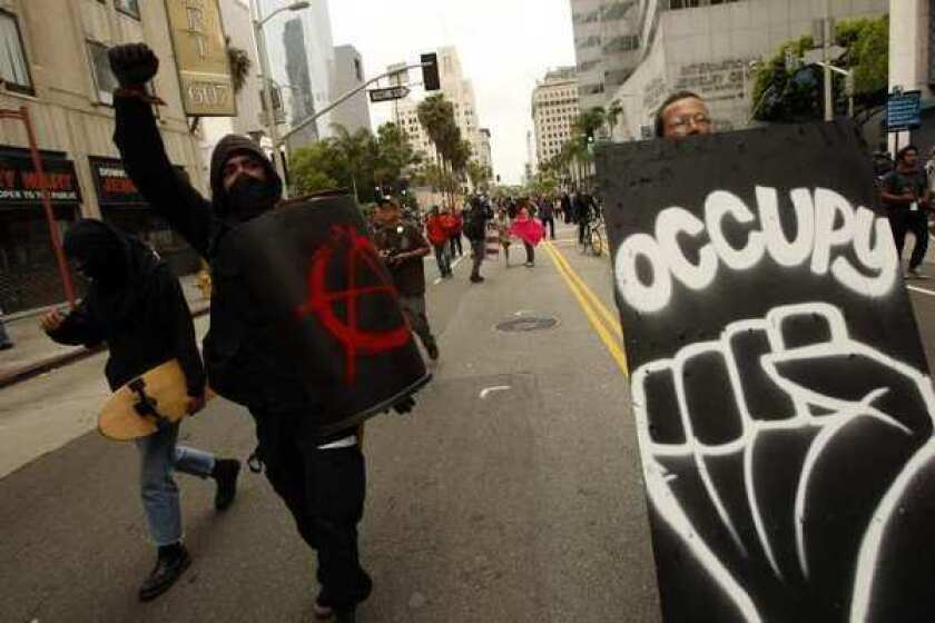 Members of the Occupy L.A. movement during a May Day protest downtown.