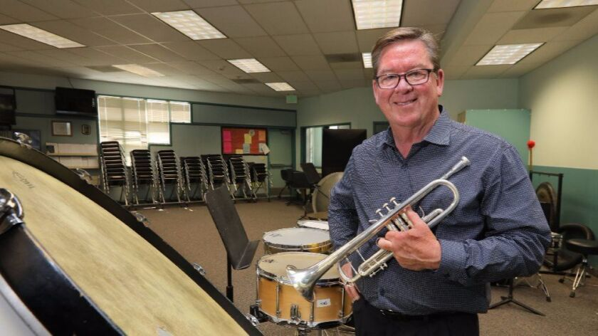 March 16, 2017_Oceanside, California_USA Portrait of retiring music teacher Ken Gammie in the music room at Roosevelt Middle School.