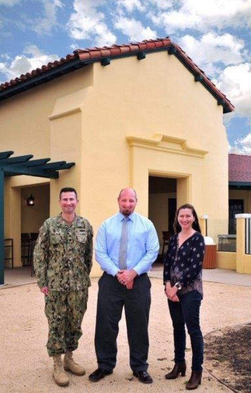 The San Onofre Beach Club, dating to the 1940s, was restored in compliance with both preservation and anti-terrorism regulations. From left are Cmdr. Joshua Malkin, community services officer John Preston and archaeologist Danielle Page.