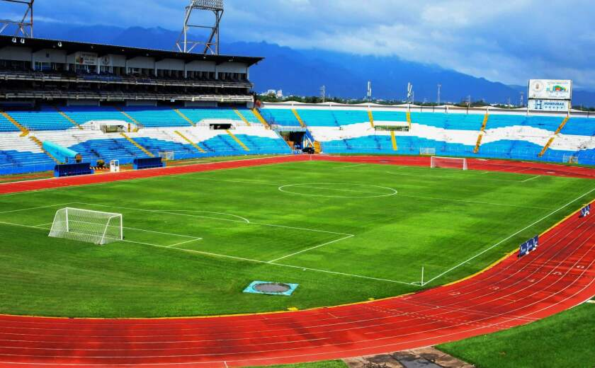 View of the Metropolitan Olympic Stadium in San Pedro Sula, 180 kilometres north of Tegucigalpa on November 5, 2017 where Honduras will face Australia in the first leg football match of their 2018 World Cup qualifying play-off next November 10. Socceroos will arive to a city known for its violent history in the fight against gangs, and where the peace was imposed by military intervention.