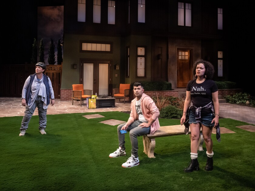 """Linda Libby, Behzad Dabu and Shannon Matesky (from left) in La Jolla Playhouse's world-premiere production of """"Put Your House in Order."""""""