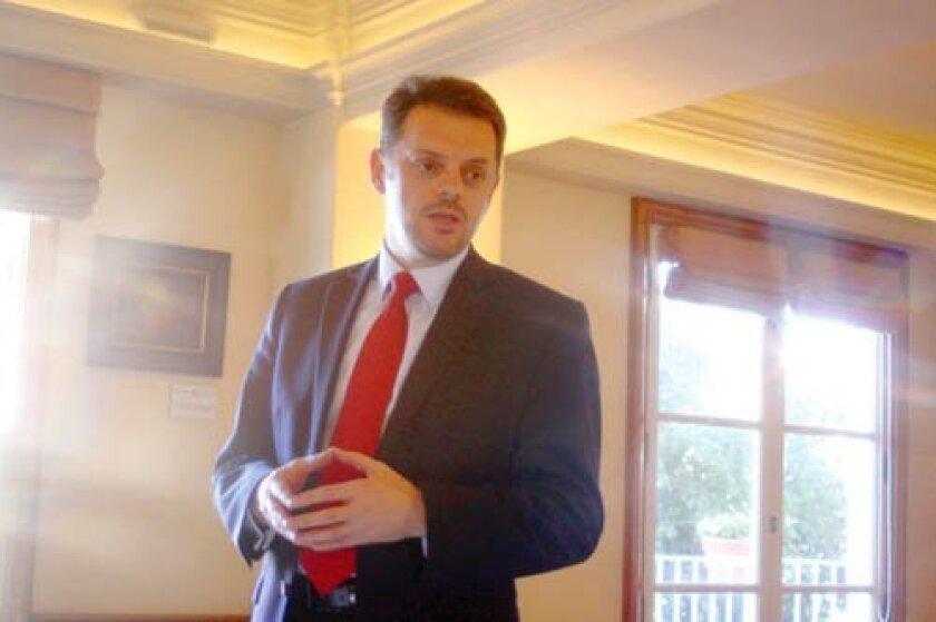 Zoran Stravreski, Macedonia's Deputy Prime Minister and Minister of Finance takes part in The Ambassadorial Roundtable Jan. 20 at La Valencia Hotel in La Jolla. Ashley Mackin