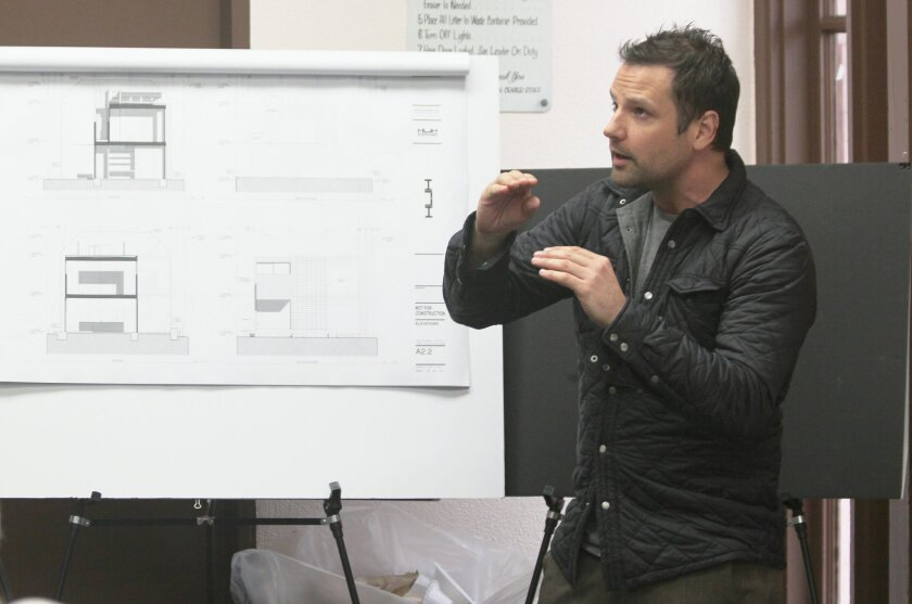 Designer Dominique Houriet of studio presents plans to demolish a one-story home and build a two-story structure in its place at 820 Rushville St. (across from the La Jolla High football field).